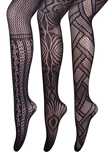 Assorted 3 Pairs Pack Patterned Fishnet Pantyhose Tights (Pack B 3 Pairs Patterned)
