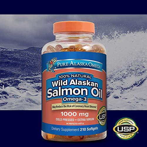 210 Salmon - Pure Alaska Omega-3 Wild Alaskan Salmon Oil 1000mg 210 Softgels (Pack of 2) LKD#nb