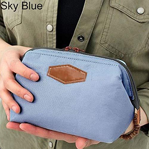 (Alamana Fashion Women Cosmetic Cloth Bag Multifunction Toiletry Zipper Wash Organizer Sky Blue)