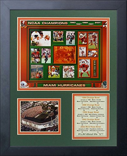 Legends Never Die Miami Hurricanes Five Time Champs Framed Photo Collage, 11 by 14-Inch