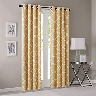 Madison Park Saratoga Fretwork Print Window Curtain Yellow 84 Panel