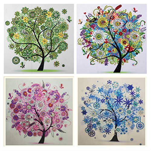 Four Seasons Paintings - 4 Packs Set Diamond Painting DIY 5D Special Shape Rhinestones, ABEUTY Four Seasons Tree & Tree of Life, Partial Drill Crystal Diamond Art Kits