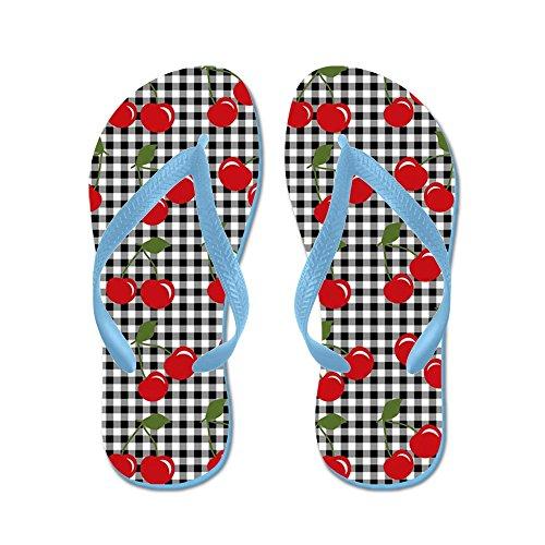 CafePress Retro Cherry Gingham - Flip Flops, Funny Thong Sandals, Beach Sandals Caribbean Blue