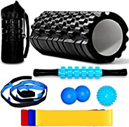 Foam Roller Kit - 7 in 1 Massage Roller Set - High Density Trigger Point Back Roller with Muscle Roller Stick,