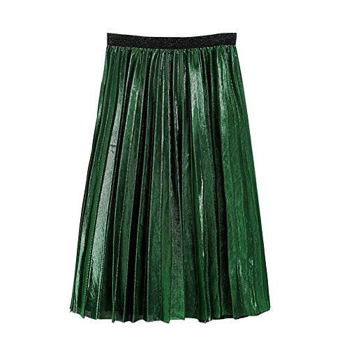 Froomer Womens Metallic Pleated Midi Skirt For School Office (Pleated Metallic Leather)