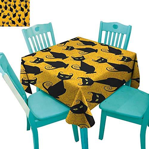 longbuyer Vintage,Dinning Tabletop Decor,Black Cat Pattern for Halloween on Orange Background Celebration Graphic Patterns,70