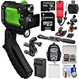 Olympus Tough TG-Tracker UHD 4K Wi-Fi GPS Shock Waterproof Video Camera Camcorder (Green) with Steady Grip + 64GB + Battery + Charger + Mounts + Backpack + Floating Strap + Kit