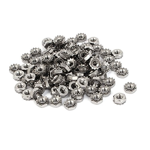 uxcell 10#-24 304 Stainless Steel Female Thread Kep Hex Head Lock Nut 100pcs
