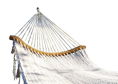 Cotton Handmade Hammock Curved Style with crochet Border by Mayan Artisans. Soft, Comfortable and Quality, Mexican Neutral Color Double Size (XL), Hig…