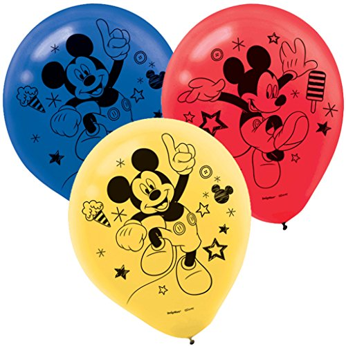 Mickey Mouse Birthday Party Supplies 12 Latex Balloons -