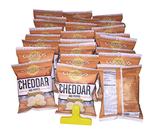 Cosmos Creations Aged Cheddar And Cracked Pepper Popcorn Bundle Of 24 Bags1 Ounce Each Value Pack And 1 Yellow 4 Inch Bag Clip  25 Items  600 Cp