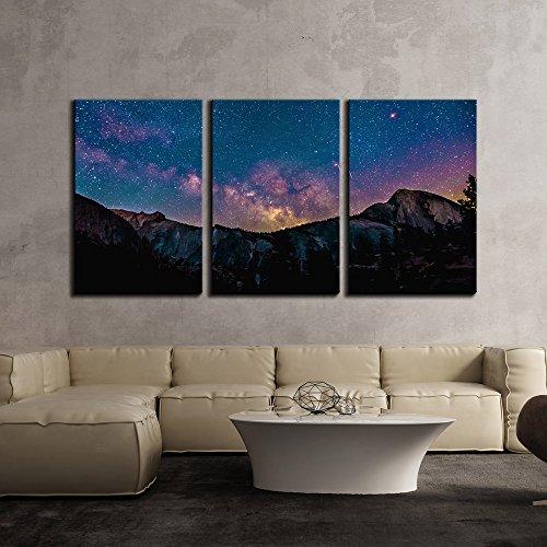 Colorful Nebula on Starry Night Sky over Mountain x3 Panels