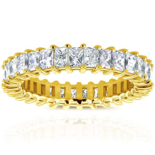 Princess Baguette Diamond Eternity Band 3 7/8 CTW in 14K Yellow Gold, Size 5.5 (Princess And Baguette Cut Diamond Eternity Ring)
