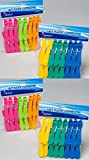 64 Plastic Clothespins w/ 6 Bright Colors - Clothes Pin, Laundry, Bag Clip, Chip Clip, Sealer, Ect.