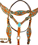 WESTERN HEADSTALL BRIDLE REINS BREAST COLLAR HORSE LEATHER TACK SET TURQUOISE BLUE CRYSTAL CONCHOS INLAY (HS - BC)
