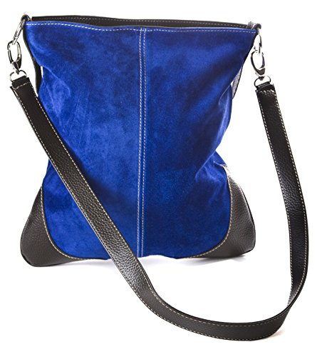 Womens Messenger Bag Cobalt Hr729 Big Handbag Cross Body Blue Real Suede Shop Large aawEzcv8q