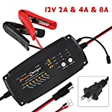 Walfront 12V 2/4/8A 3-in-1 Smart Automatic Battery Charger, 7-Stage Charging Process for Car Motorcycle Truck Boat RV AGM GEL RV SUV ATV (Black)