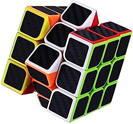 AdiChai Multicoloured Carbon Layered Sticker-ed 3X3 Neon Magic Puzzle Speed Cube - 3 by 3, 3 X 3