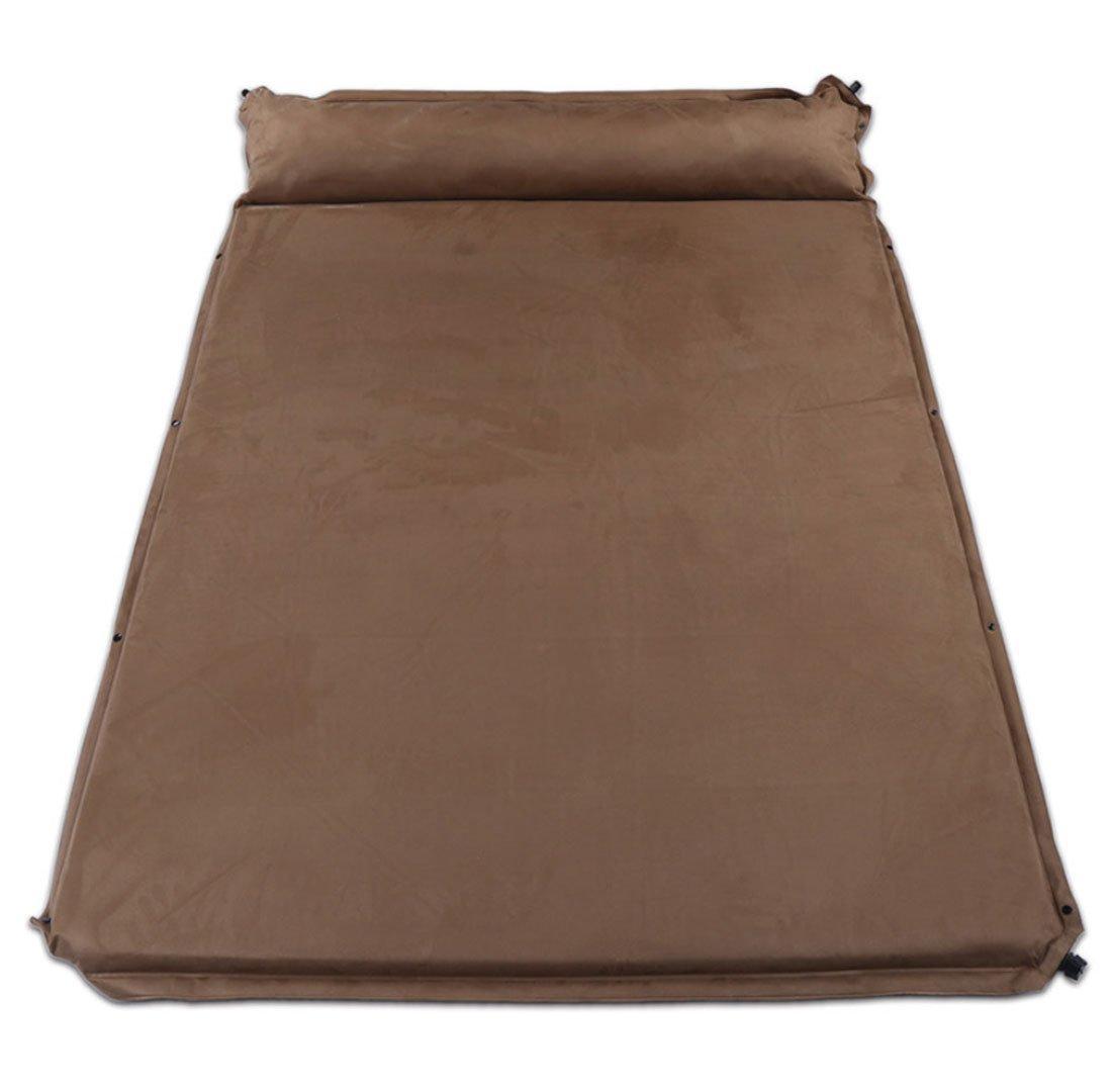 QQBL Camping Zelt FeuchtigkeitsBesteändige Schlafmatte PVC Braun Automatische Aufblasbare Kissen mit Kissen