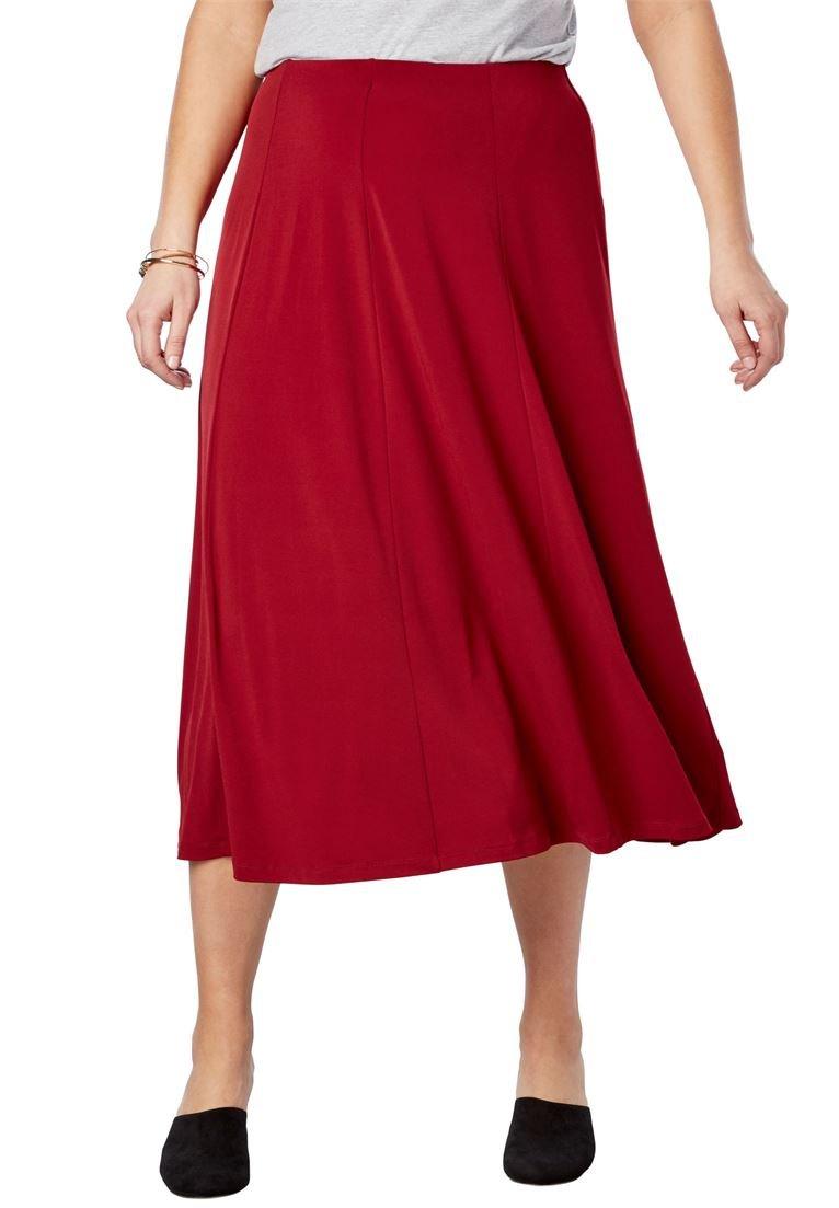 Woman Within Women's Plus Size A-Line Knit Midi Skirt