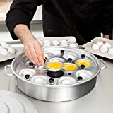 TableTop King 12 Cup Aluminum Egg Poacher with Lid - 14 1/8'' x 2 1/2''