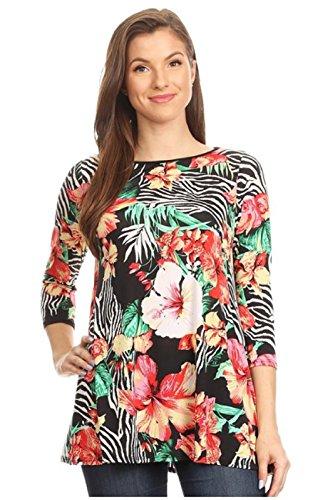 Love My Seamless Women's Ladies Tropical Hawaiian Fashion Floral Printed Top 3/4 Sleeve Long Blouse (L)