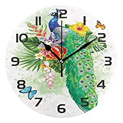 Dozili Animal Peacock Decorative Wooden Round Wall Clock Arabic Numerals Design Non Ticking Wall Clock Large for Bedrooms, Living Room, Bathroom