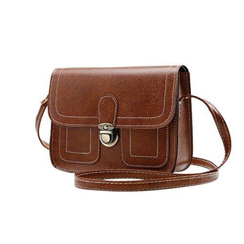 Women Fashion Shoulder Bag Square Vintage PU Leather Solid Color Handbag Satchel -