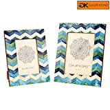 Cheap GAURI KOHLI: Blue Chevron Design Photo Frames Gift Set | Wall Hanging & Table Top | 100% Premium Handmade (Twin Pack)