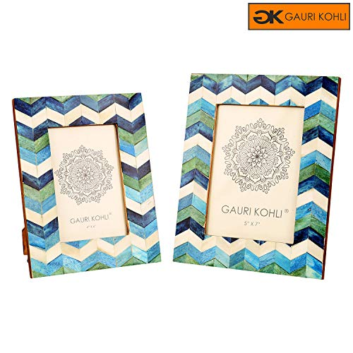 Cheap GAURI KOHLI: Blue Chevron Design Photo Frames Gift Set | Wall Hanging & Table Top | 100% Premium Handmade (Twin Pack)