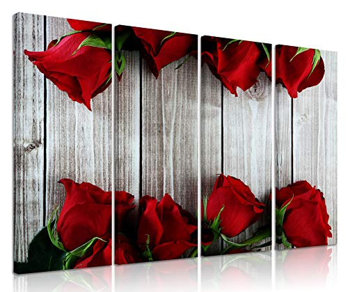 Natural art Vintage Style Rose Pictures for Wall Decor Red Flower Canvas Painting with Wooden Frame 8x24 Inch 4 Panels