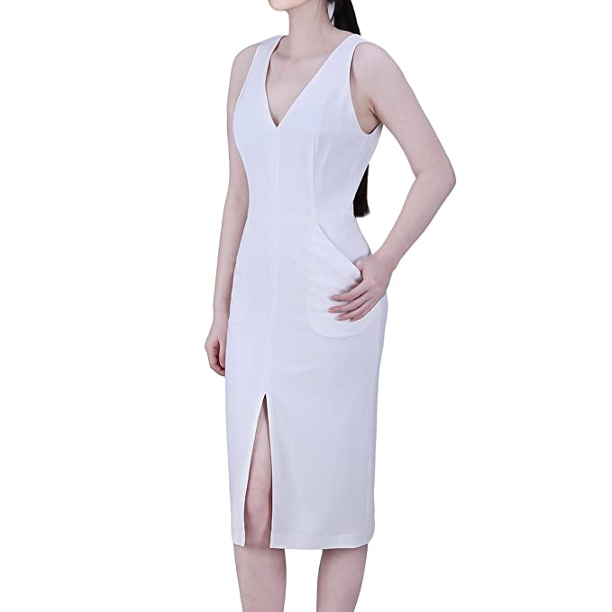 Ingsist Women V-neck Slit Sleeveless Party Cocktail Little White Dress:  Amazon.ca: Clothing & Accessories