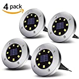 Solar Powered Ground Lights | Sanwo 8 LEDs Auto On/Off in-Ground Light | Warm White | LED Landscape Light | Outdoor Waterproof Garden Lighting for Yard Driveway Lawn Pathway (4 Pack)