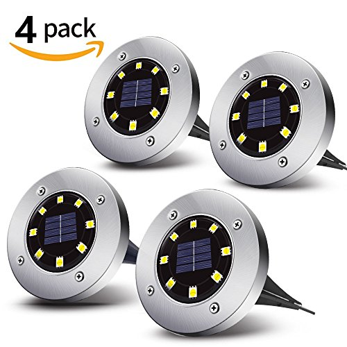 Solar Powered Ground Lights | Sanwo 8 LEDs Auto On/Off in-Ground Light | Warm White | LED Landscape Light | Outdoor Waterproof Garden Lighting for Yard Driveway Lawn Pathway (4 Pack) by sanwo