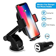 Wireless Car Charger, Detuosi Fast Wireless Charger Car Phone Holder Wirelss Car Phone Charger Mounts for Samsung Galaxy S9/S9+/S8/S8+/S7/S7 Edge/S6 Note 8/5 iPhone/X/8/8 Plus etc. [Gift Car Charger]