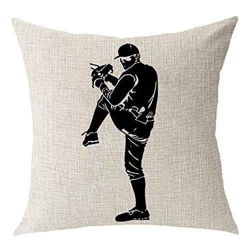Outdoor sports baseball Cotton Linen Square Throw Waist Pillow Case Decorative Cushion Cover Pillowcase Sofa 18x18 inches