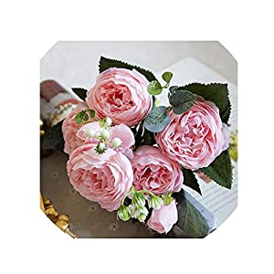 crystal004 30Cm Rose Pink Silk Peony Artificial Flowers Bouquet 5 Big Head and 4 Bud Fake Flowers for Home Wedding Decoration Indoor,4 41