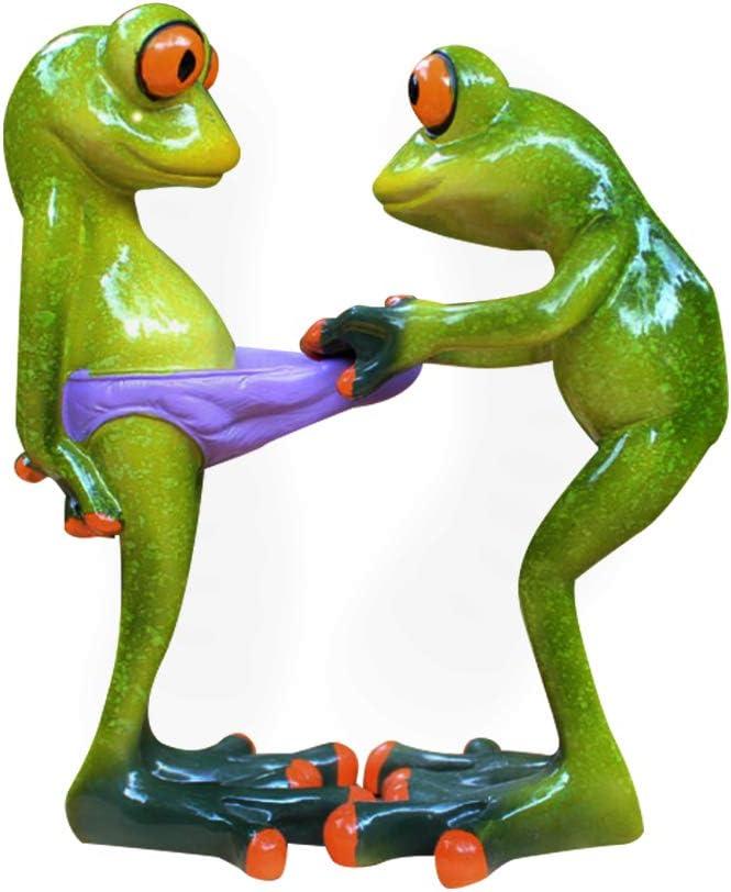 Dorlotou Frog Figurines Statue Cute Creative Funny Green Frog Sculpture for Home Desk Bathroom Decoration YX6082E