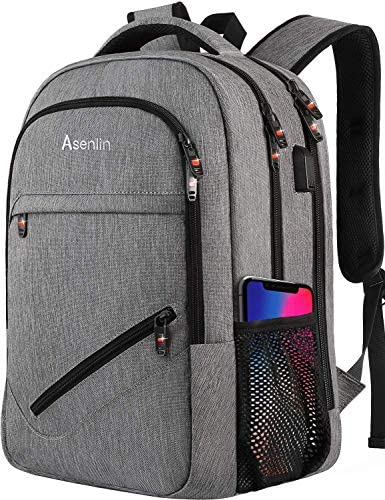 Laptop Backpack,Business Travel Slim Durable Laptops Backpack with USB Charging Port,Water Resistant College School Computer Bag for Women Men Fits 15.6 Inch Laptop and Notebook – Grey