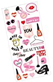 "Custom & Decorative {.5"" to 1"" Inch} 52 Count Pack of Mid-Size Stickers for Arts, Crafts & Scrapbooking w/ Cartoon Summer Rainbow Girly Glam Dress Up Makeup Lipstick Style {Red, Yellow, Black & White}"