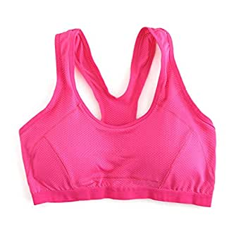 GOGO TEAM Plus Size Workout Fitness Sports Bra Racer Back Yoga Bra Tank Top ROSERED-M