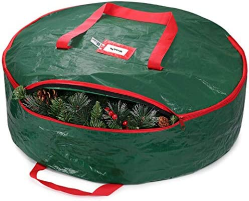 "ZOBER Christmas Wreath Storage Bag 36"" - Water-Resistant Fabric Storage Dual-Zippered Bag for Holiday Artificial Christmas Wreaths, 2 Stitch-Reinforced Canvas Handles, Card Slot for Labeling"
