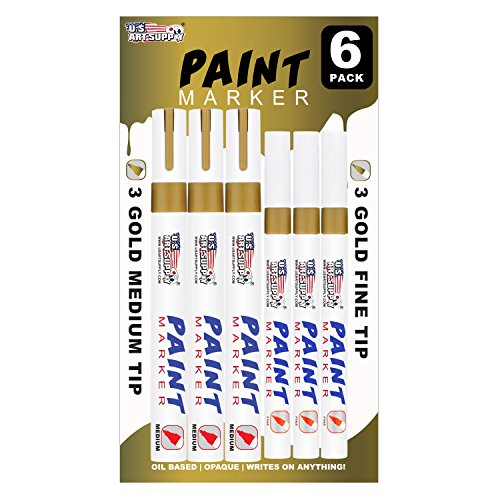 us-art-supply-set-of-6-metallic-gold-oil-based-paint-pen-markers-3-medium-and-3-fine-point-tips-perm