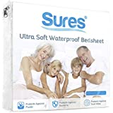 Sures Waterproof Mattress Protector - Twin Size Bedsheet - Fitted Machine Washable Bed Sheet - Hypoallergenic, Vinyl Free Bedwetting Cover Pad - Incontinence Protection for Child, Kids, Adult, Elderly