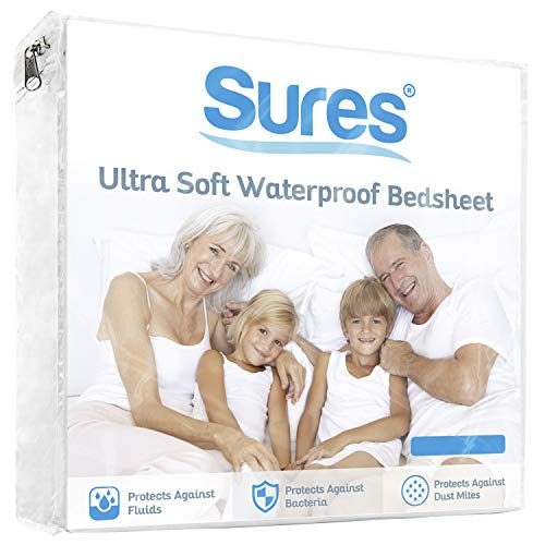Sures Waterproof Mattress Protector - Queen Size Bedsheet - Fitted Machine Washable Bed Sheet - Hypoallergenic, Vinyl Free Bedwetting Cover Pad - Incontinence Protection for Child, Kid, Adult, Elderly