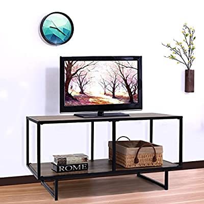"Premium TV Stand Entertainment Console Rack for up to 40"" TV with Spacious Shelf for Modern Contemporary Home Living Room Spaces, Nature Tan Wood Grain Color, Max Weight Carry 88lbs"
