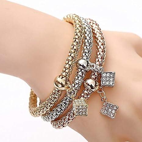 IJEWALRY Pulsera De La Mujer,Pulsera,Elegante Fino Mujeres Cadena De Palomitas De Maíz Cuadrado Cristal Charm Bracelet Bracelet Multi-Layer Stretch Pulsera para La Boda