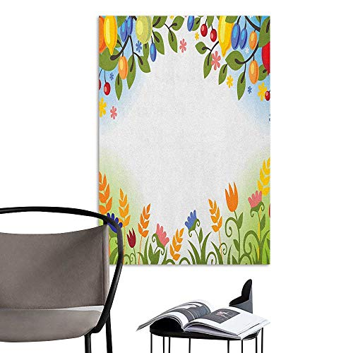 Alexandear Wall Mural Wallpaper Stickers Harvest Fall Nature Inspired Festive Colorful Frame Fruits and Flowers Berries Swirl Leaves Multicolor Office Fashion W32 x H48 -