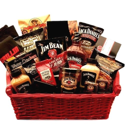 Jim Beam & Jack Daniels Ultimate BBQ Grilling Gift Basket -Fun Gift Basket Idea for Men by Organic Stores