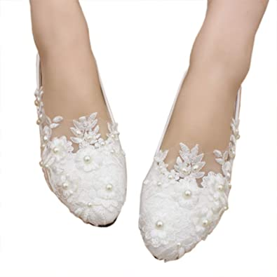 c1462bfcb8 Dress First Women's Leatherette Flat Heel Closed Toe Flats with Pearl  Applique Bridal Shoes White